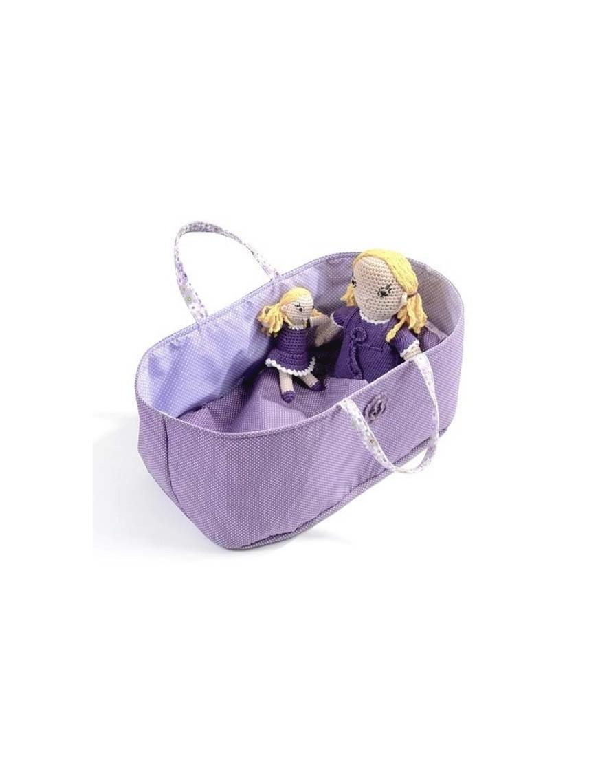 Couffin pour Poupée à pois violet 30x18 cm