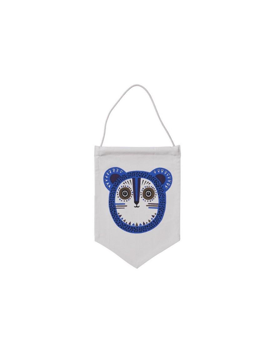 ferm living billy bear wall flag - bleu