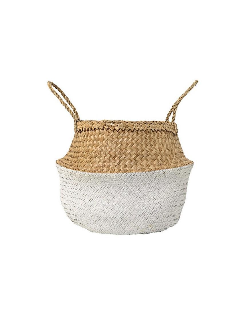 Bloomingville panier boule blanc / naturel