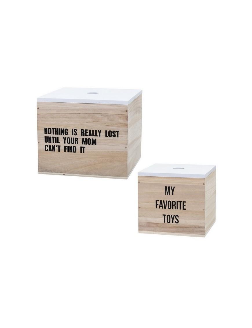 bloomingville boîte de rangement en bois : nature/blanc (set x2)