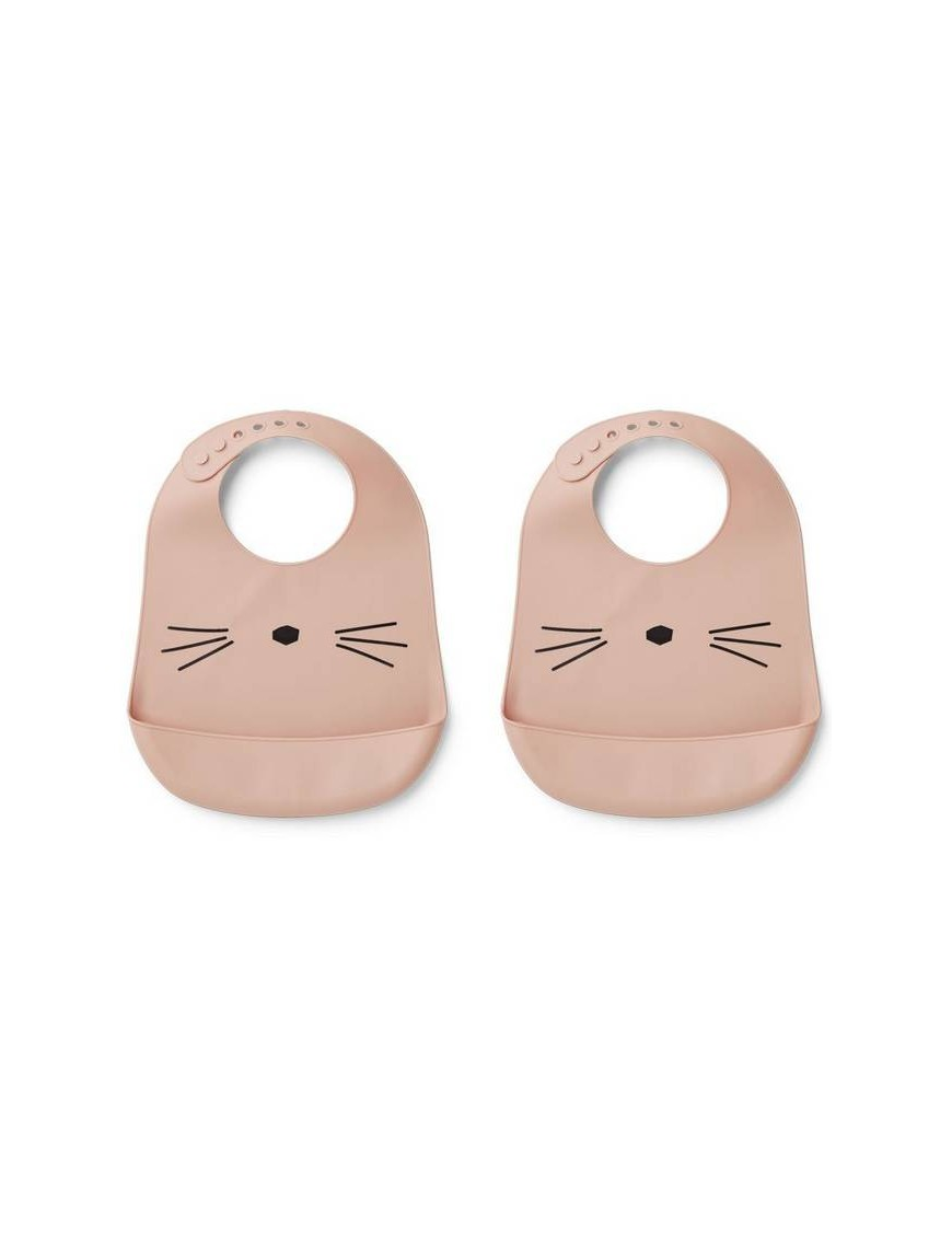 Bavoir silicone Liewood (pack 2), chat/rose