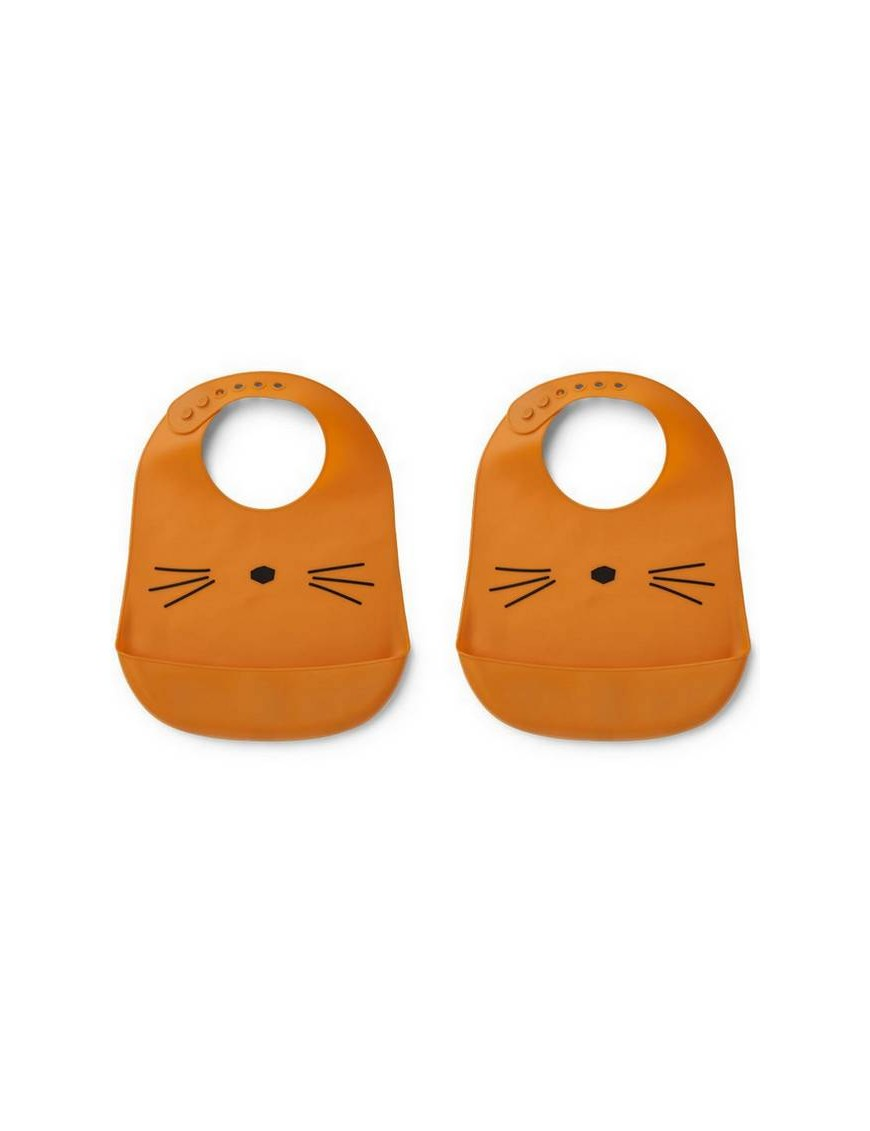 Bavoir silicone Liewood (x2), chat/moutarde