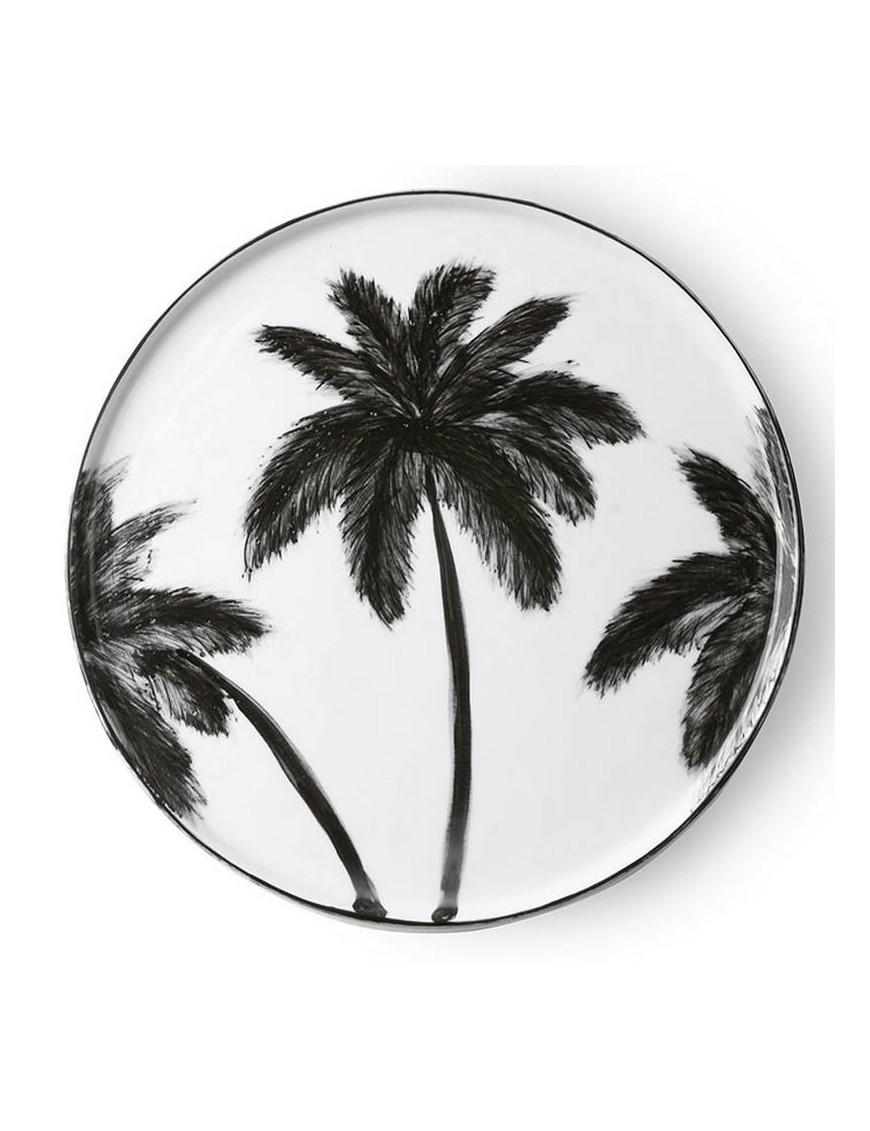Assiette porcelaine : palmier noir(x6) D22cm
