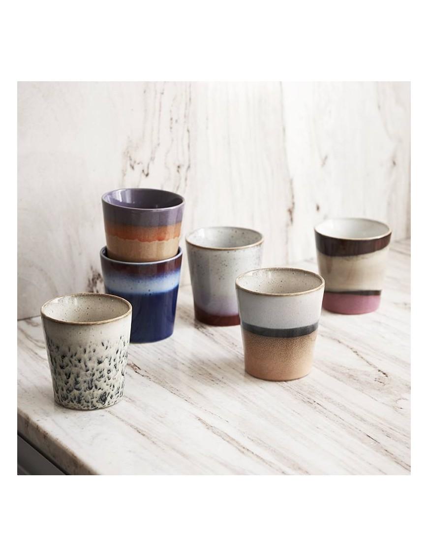 HK Living 6 mugs céramique 70'