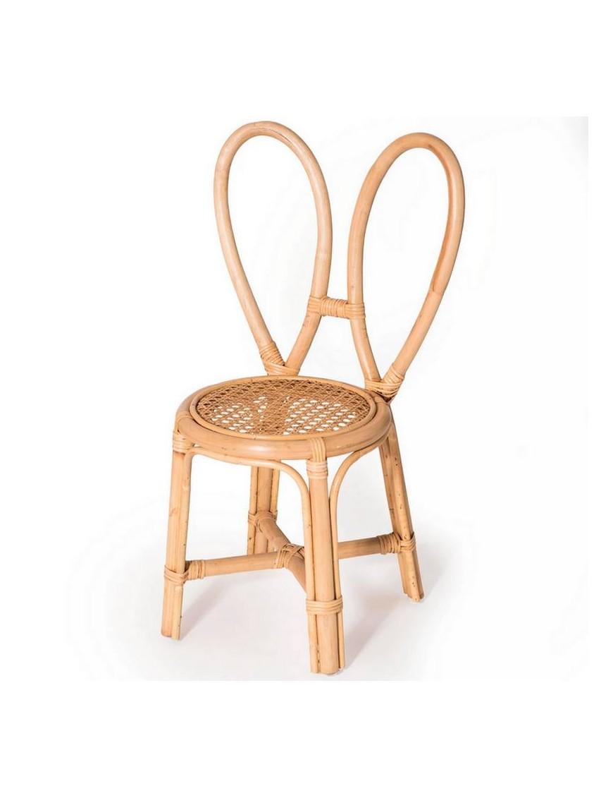 Chaise lapin en rotin