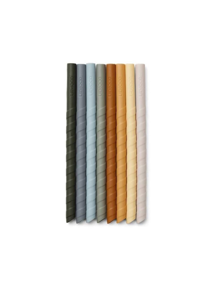 Liewood pailles en silicone bleu multi mix (x8)