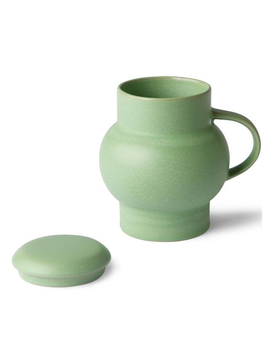 "Mug vert menthe avec couvercle ""bubble"" HK living"