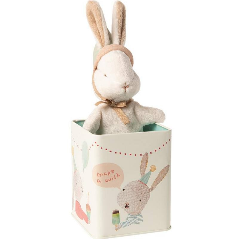 "Peluche lapin Maileg ""happy day bunny in box"""