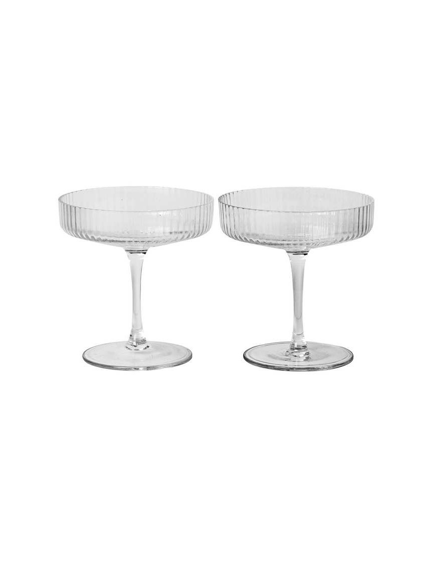 Ferm Living coupes à champagne Ripple, set de 2