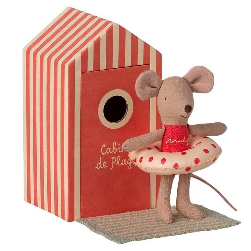 """Maileg souris """"little sister"""" dans sa cabine de plage rouge"""
