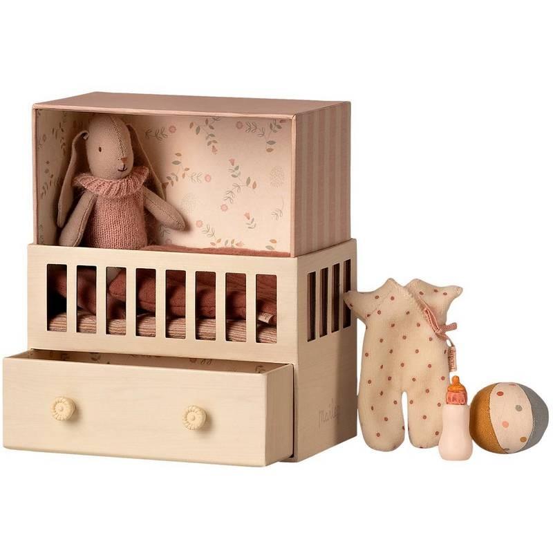 Maileg baby room avec micro rabbit, rose
