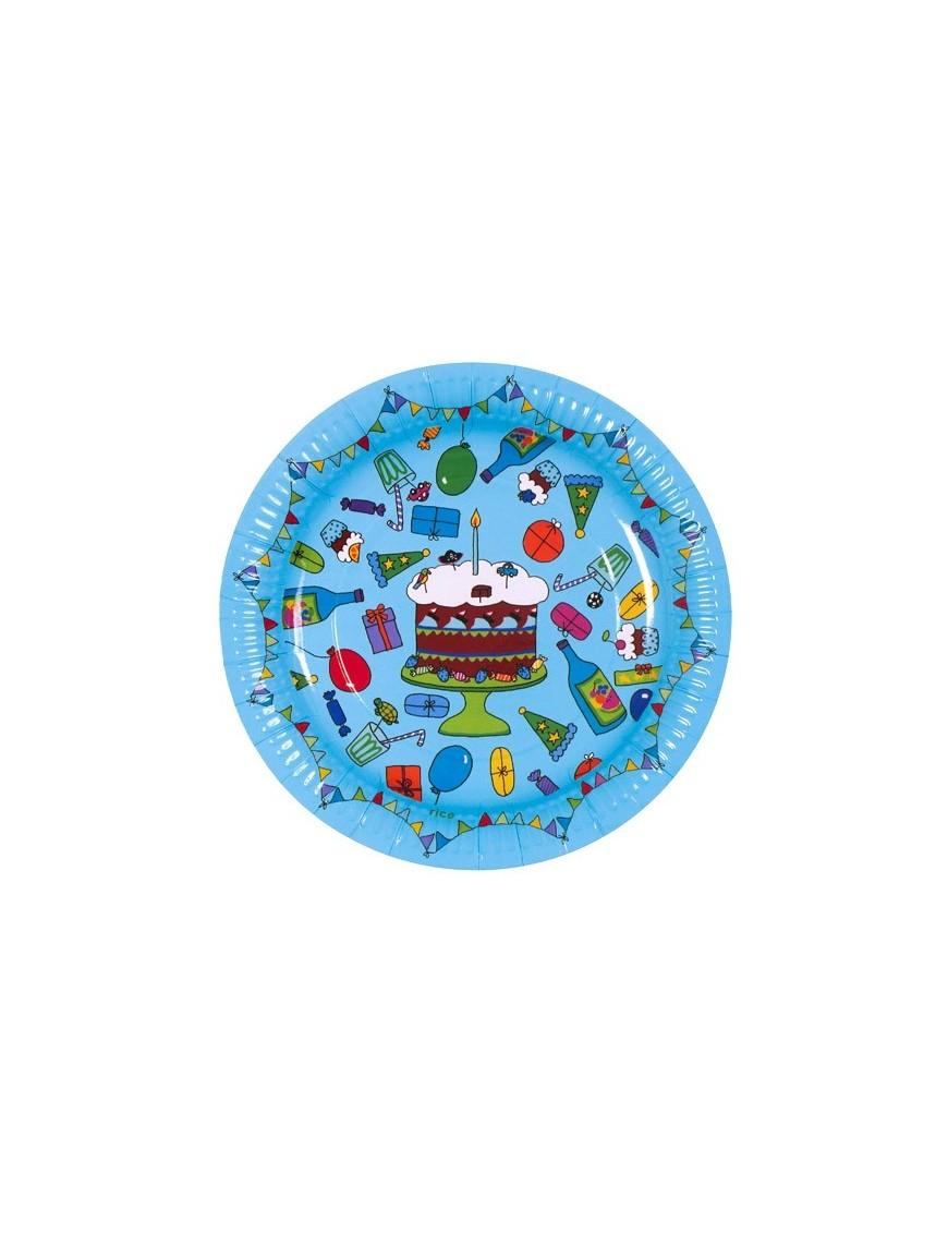 RICE - Lot de 8 Petites Assiettes d'anniversaire en carton - turquoise