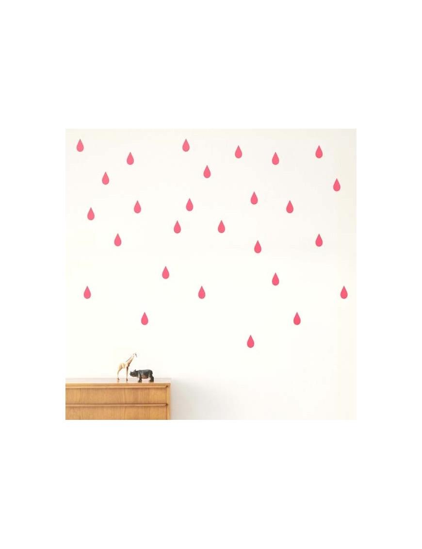 FERM LIVING - Planche de Stickers Mini Gouttes - rose fluo